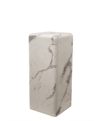 Furniture - Coffee Tables - Marble look Medium End table - / H 76 cm – Marble effect by Pols Potten - White - MDF, Resin