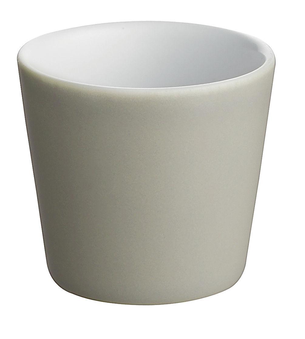 Tischkultur - Tassen und Becher - Tonale Expresso-Tassen - Alessi - Hellgrau / innen weiß - Keramik im Steinzeugton