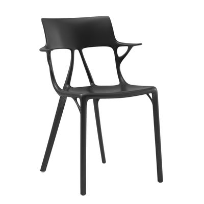 Mobilier - Chaises, fauteuils de salle à manger - Fauteuil empilable A.I / Conçu par une intelligence artificielle - Kartell - Noir - Technopolymère thermoplastique recyclé