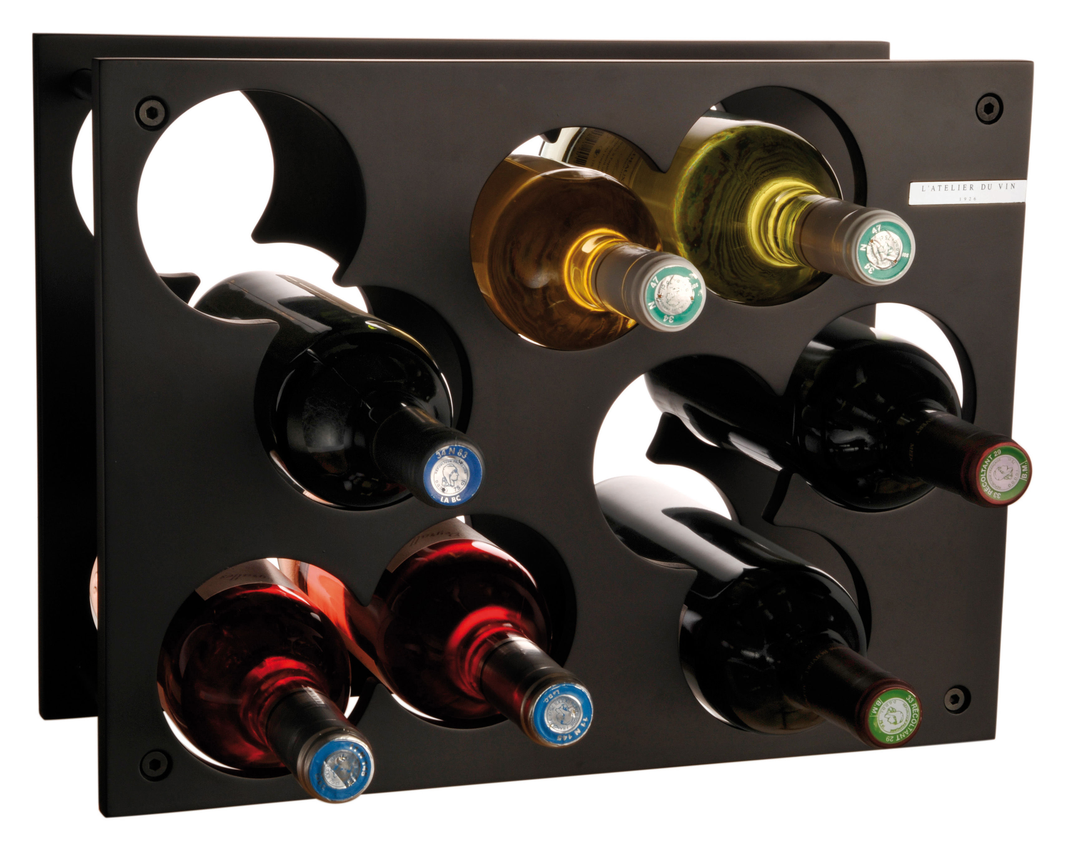 Küche - Einfach praktisch - City Rack bois Flaschenregal / für 9 Flaschen - L'Atelier du Vin - Schwarz - mitteldichte bemalte Holzfaserplatte