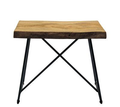 Möbel - Hocker - Old Times Hocker / H 47 cm - Zeus - Holz natur / Fußgestell schwarz - bemalter Stahl, Olivenholz, massiv