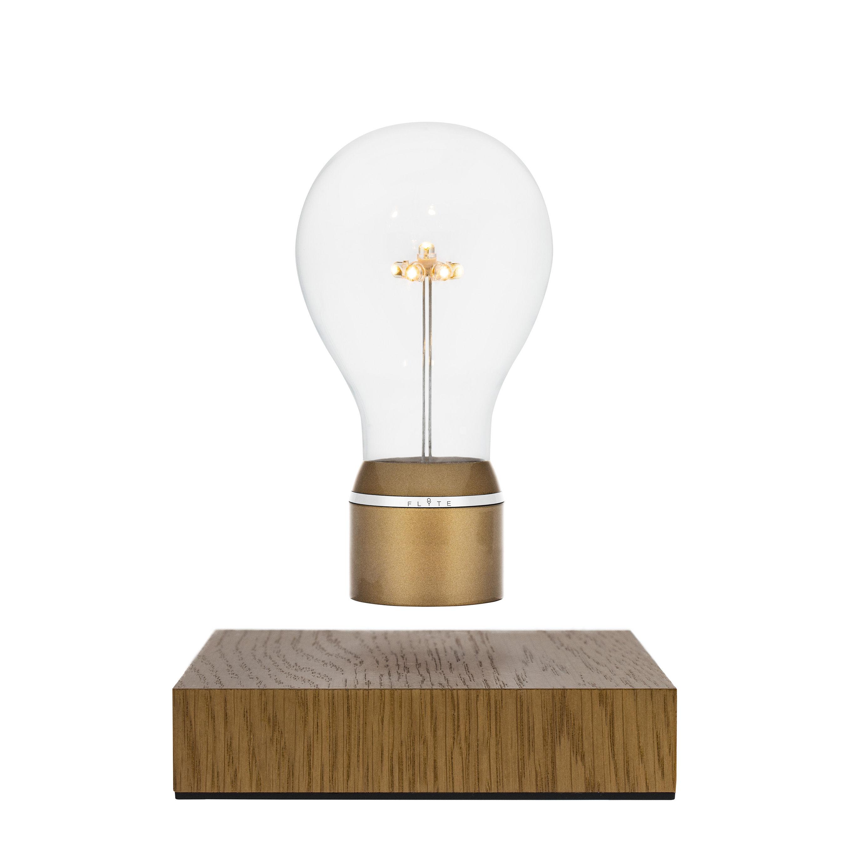 Illuminazione - Lampade da tavolo - Lampada da tavolo Flyte Royal - / Lampadina in levitazione di Flyte - Oro / Base rovere - Matière pastique, Rovere, Vetro
