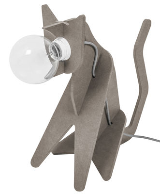 Illuminazione - Lampade da tavolo - Lampada da tavolo Get out / Chat di ENOstudio - Grigio chiaro - Cavo rosso - Pannello medium tinto