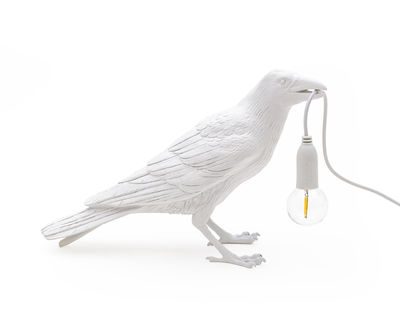 Lampe de table Bird Waiting / Corbeau immobile - Seletti blanc en matière plastique