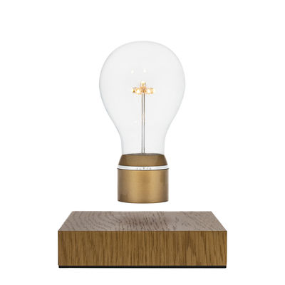Luminaire - Lampes de table - Lampe de table Flyte Royal / Ampoule en lévitation - Flyte - Or / Base chêne - Chêne, Matière pastique, Verre