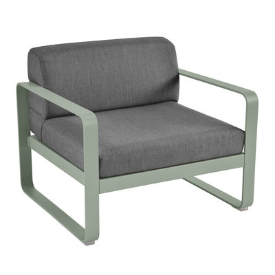 Furniture - Armchairs - Bellevie Padded armchair - Charcoal grey fabric by Fermob - Cactus / Charcoal grey fabric - Acrylic fabric, Foam, Lacquered aluminium