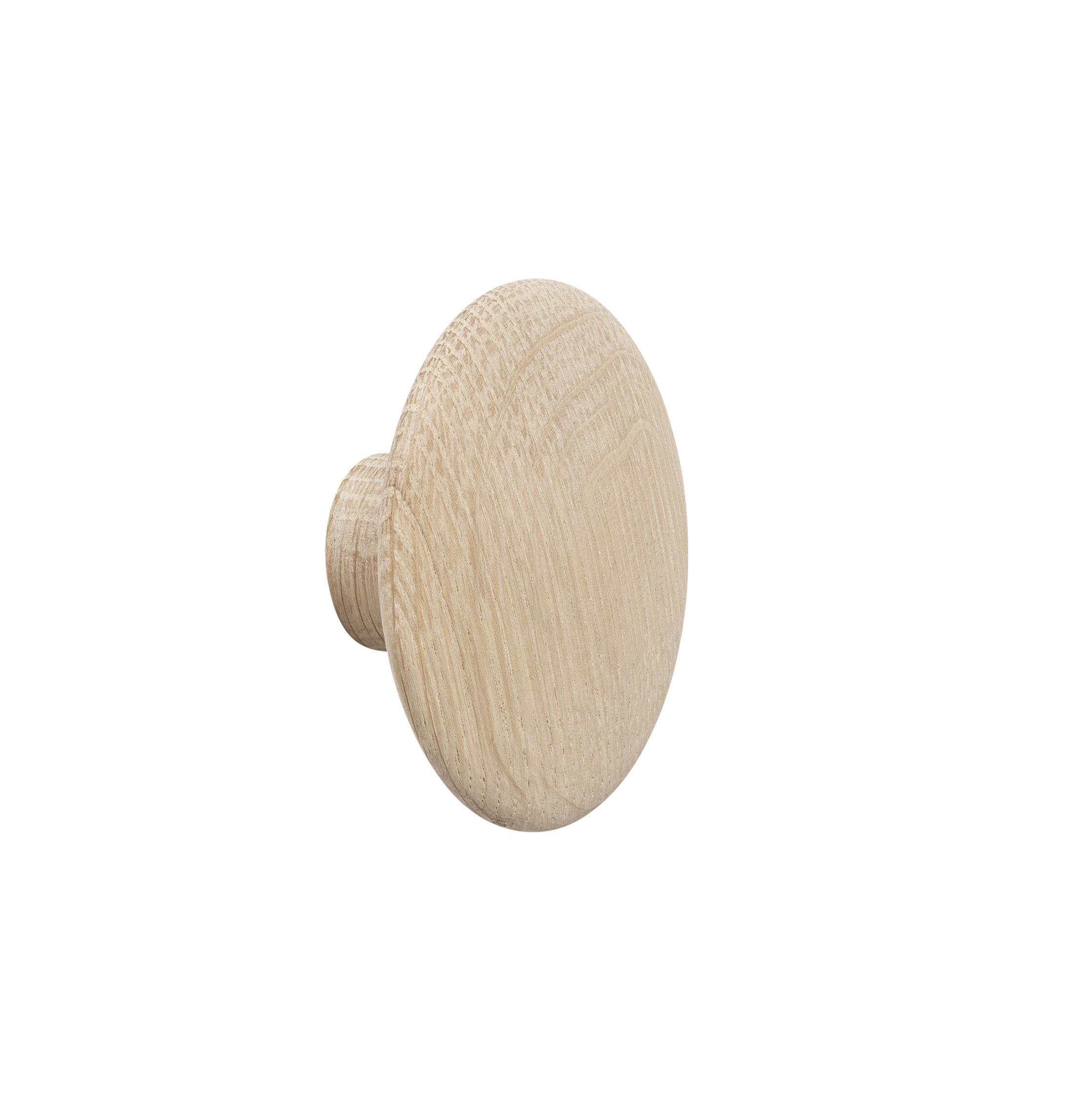 Mobilier - Portemanteaux, patères & portants - Patère The Dots Wood / XSmall - Ø  6,5 cm - Muuto - Chêne naturel - Chêne naturel