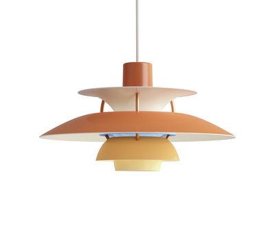 Lighting - Pendant Lighting - PH5Mini Pendant - / Ø 30 cm by Louis Poulsen - Orange / Bronze rods - Aluminium