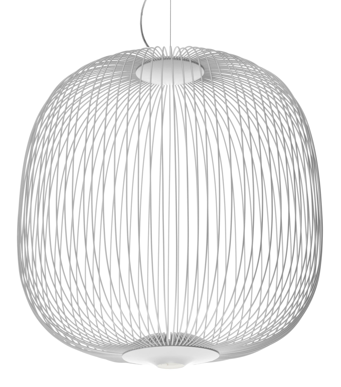 Lighting - Pendant Lighting - Spokes 2 Large Pendant - LED / Ø 70 x H 73 cm by Foscarini - White - Steel thread