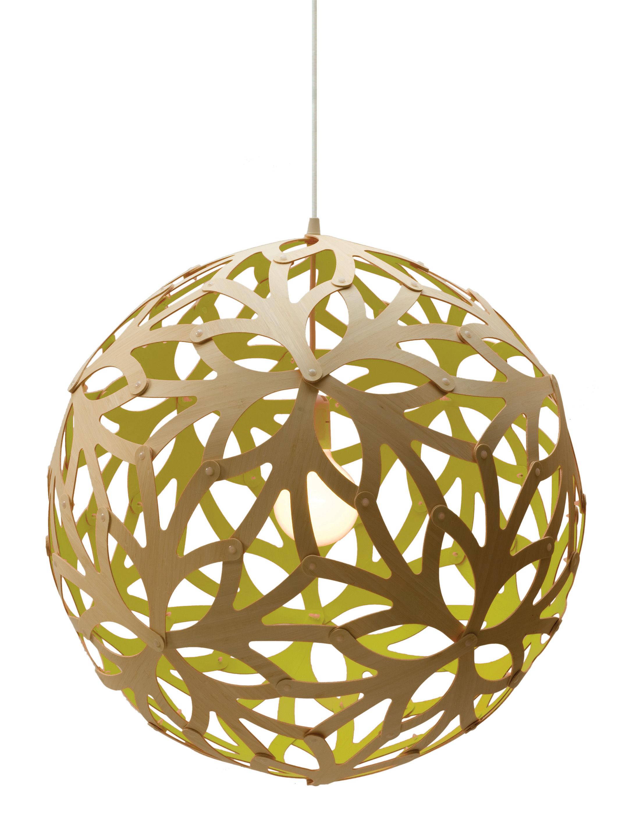 Leuchten - Pendelleuchten - Floral Pendelleuchte Ø 40 cm - zweifarbig - exklusiv - David Trubridge - Zitronengelb / Naturholz - Bambus