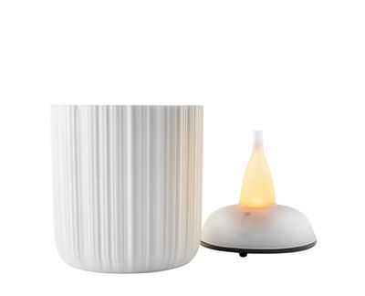 Déco - Bougeoirs, photophores - Photophore LED / H 9 cm - Eva Solo - H 9 cm / Blanc - Porcelaine