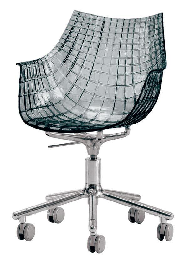 Arredamento - Mobili Ados  - Poltrona a rotelle Meridiana di Driade - Fumé trasparente - Alluminio lucido, policarbonato