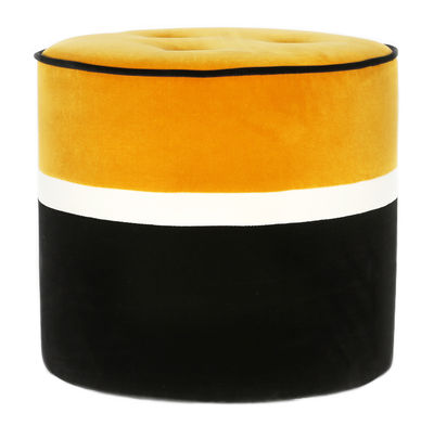 Pouf Léo Small / Ø 42 x H 43 cm - Velours - Maison Sarah Lavoine blanc,noir,ocre en tissu