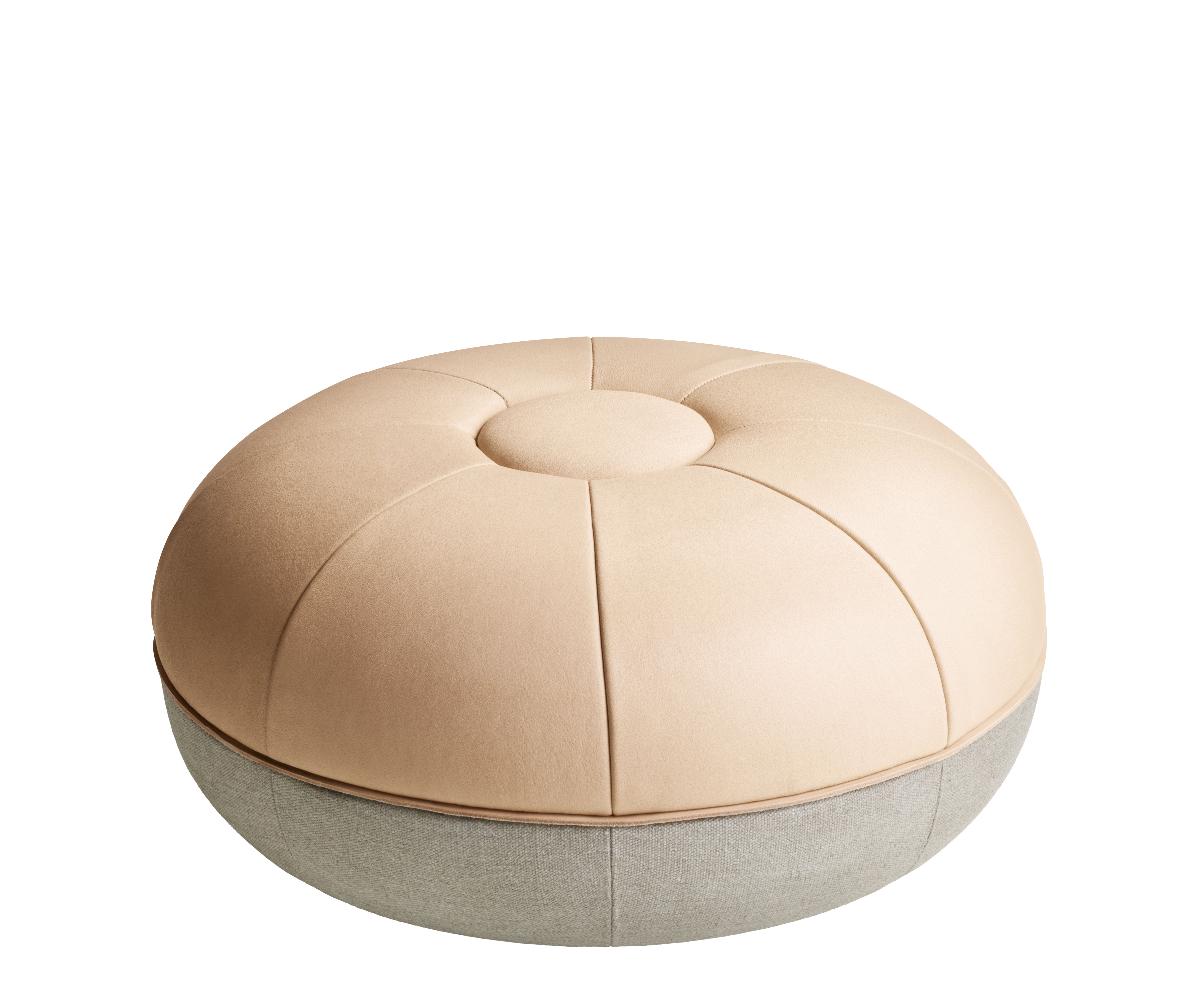 Furniture - Poufs & Floor Cushions - Pouf - / Limited edition - Leather & Linen by Fritz Hansen - Natural leather / Grey - Foam, Full grain leather, Linen