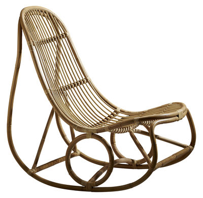 Rocking chair Nanny / Réédition 1969 - Sika Design marron/beige en fibre végétale