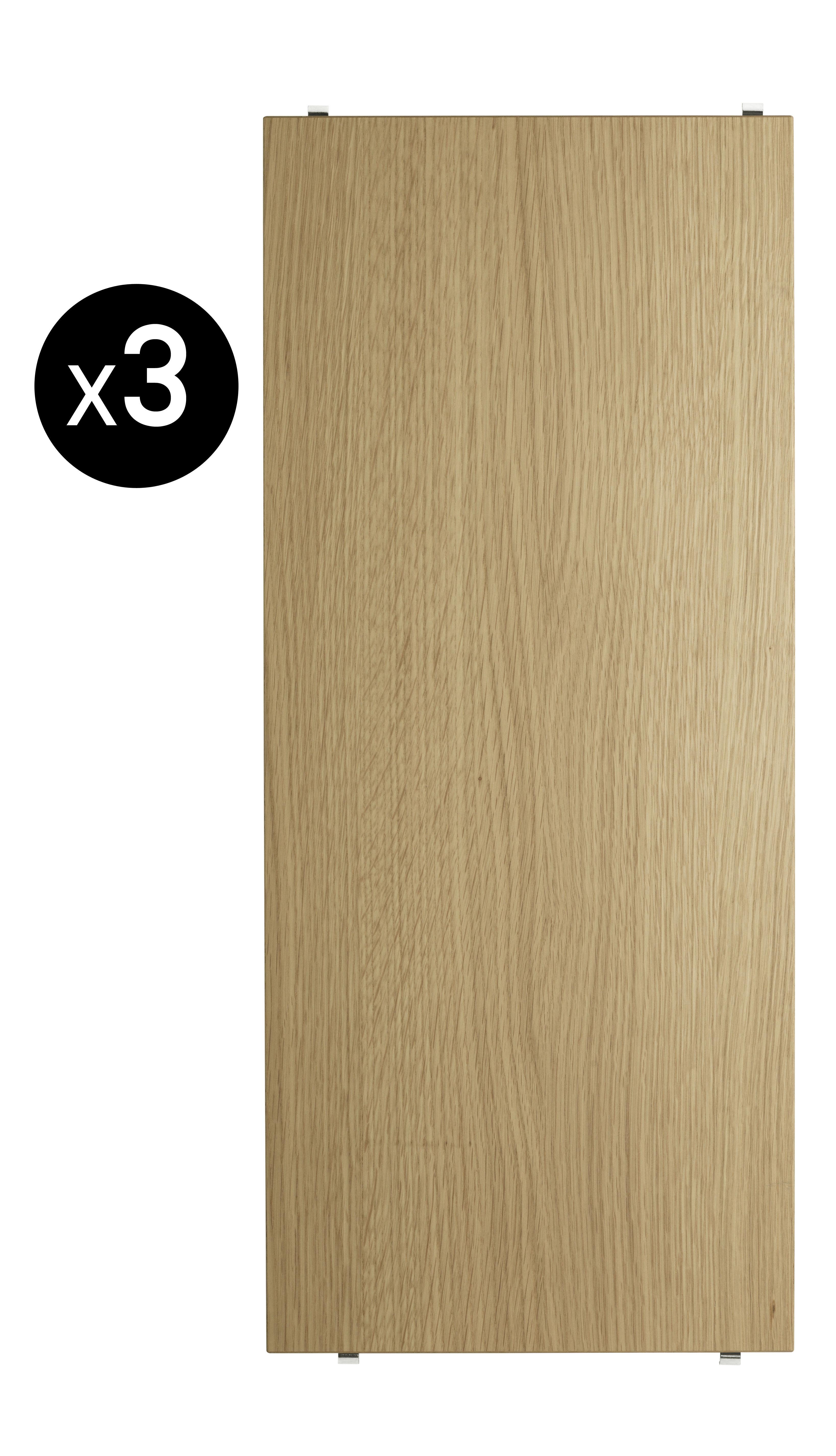 Arredamento - Scaffali e librerie - Scaffale String System - / L 58 cm - Set da 3 di String Furniture - Rovere - Compensato di rovere
