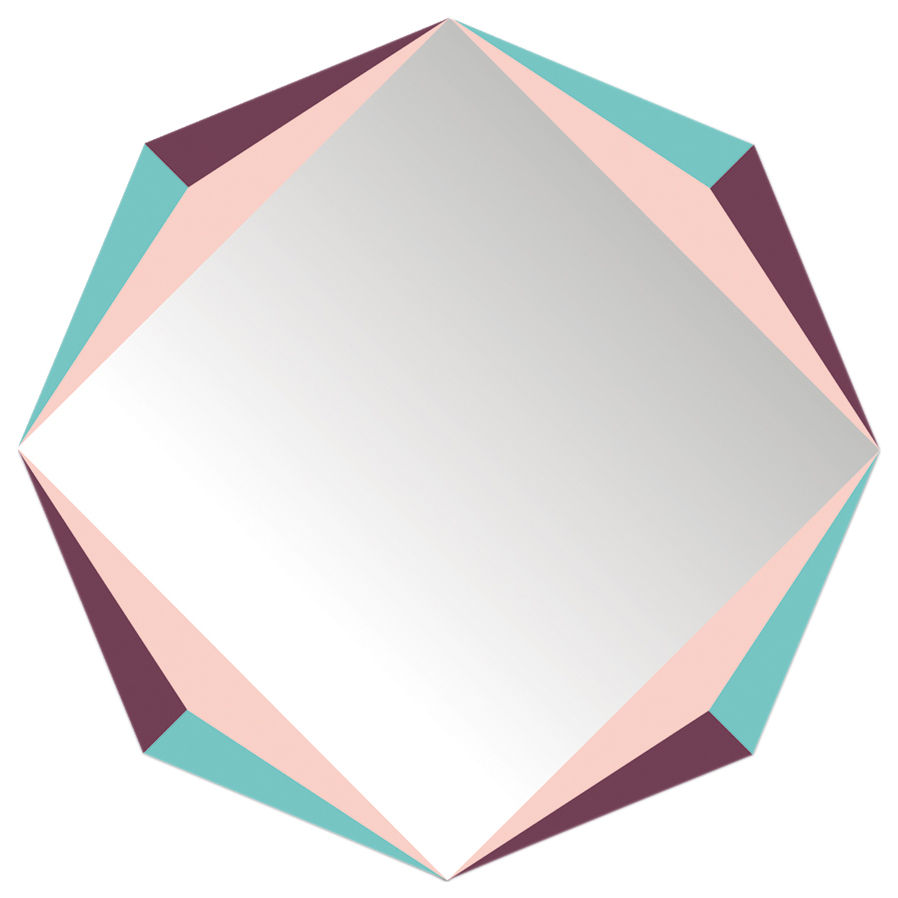 Dekoration - Spiegel - The Octagon Selbstklebende Spiegel / 48 x 48 cm - Domestic - The Octagon / mehrfarbig - Perspex