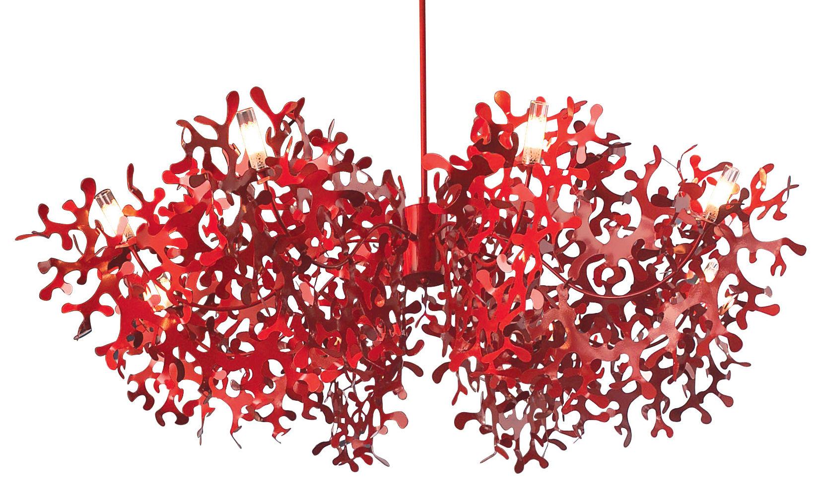 Illuminazione - Lampadari - Sospensione Supercoral 8 - Ø 140 cm di Lumen Center Italia - Rosso - metallo laccato