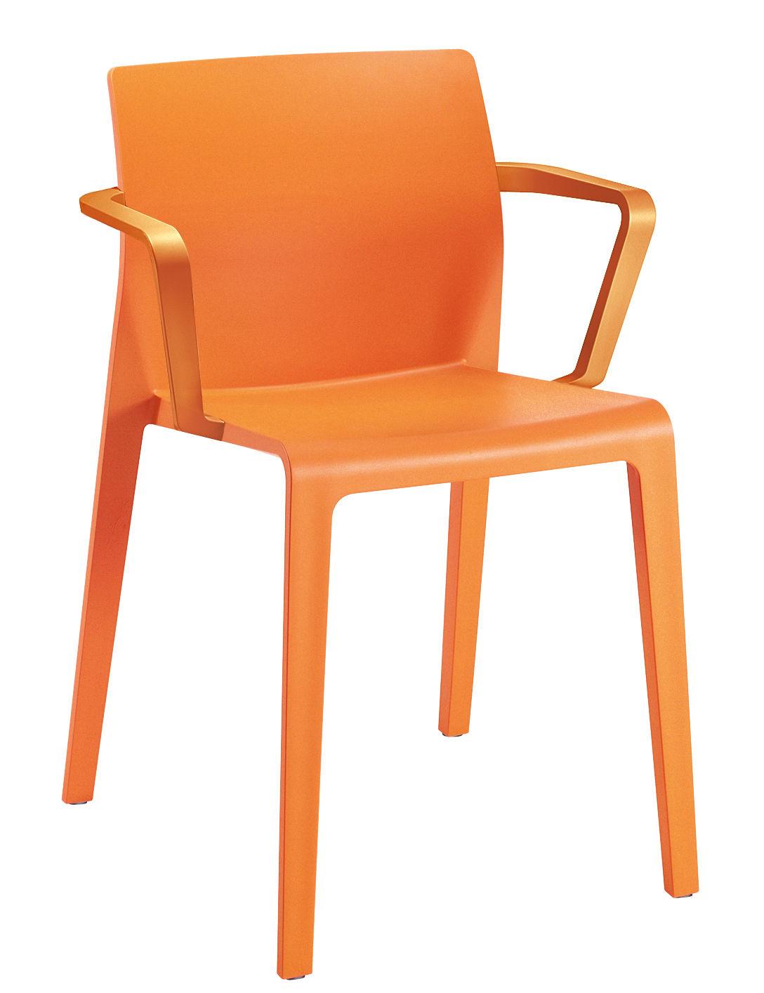 Furniture - Chairs - Juno Stackable armchair by Arper - Orange - Polypropylene