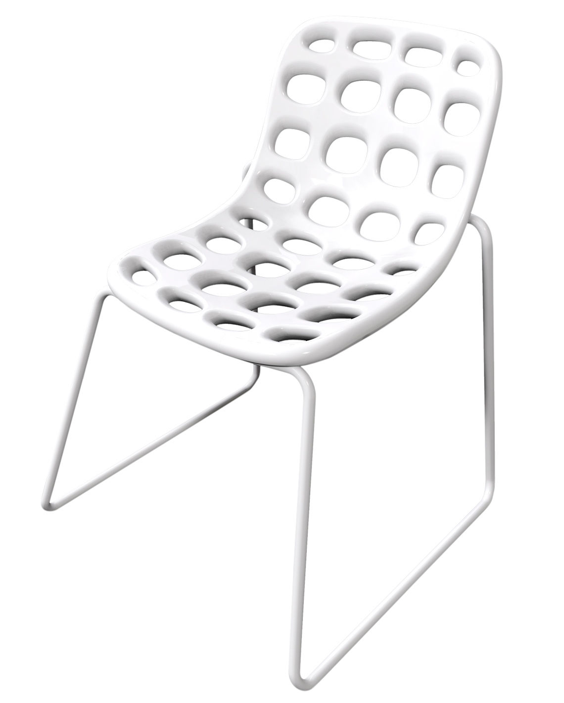 Furniture - Chairs - Chips Stacking chair - Plastic & metal legs by MyYour - White - Painted stainless steel, Polythene
