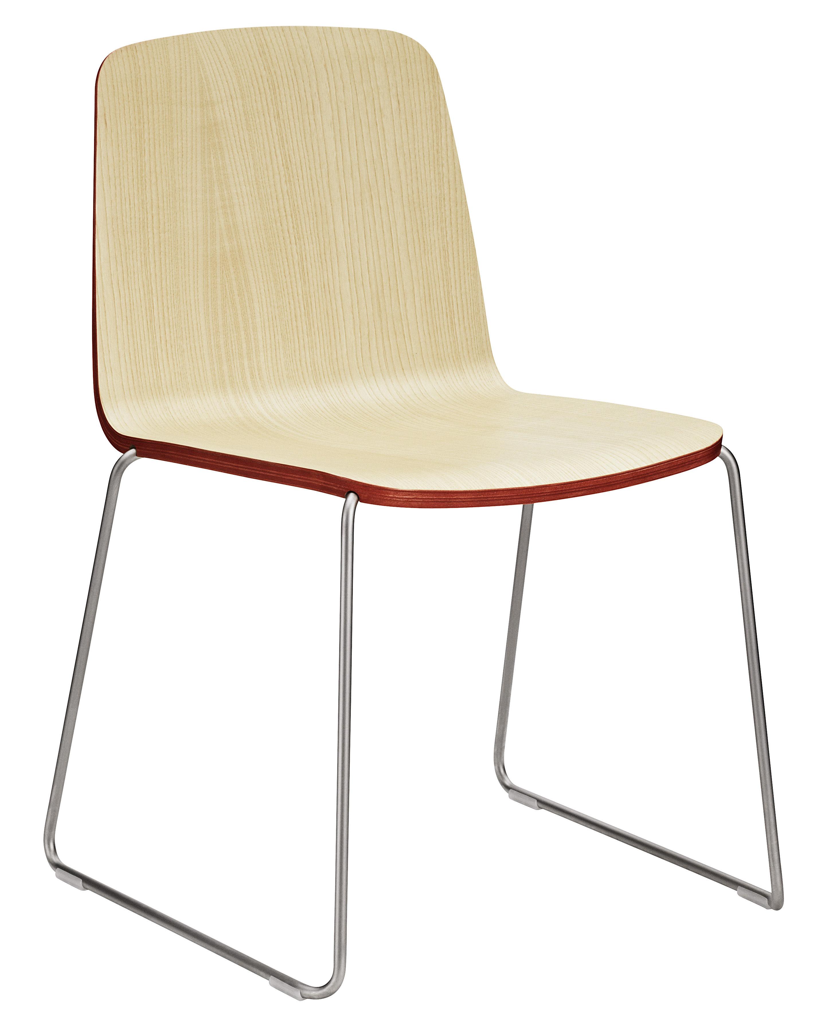 Möbel - Stühle  - Just Stapelbarer Stuhl - Normann Copenhagen - Sitzfläche Esche natur, mit rotem Rand / Stuhlbeine chromglänzend - Frêne laqué, Stahl