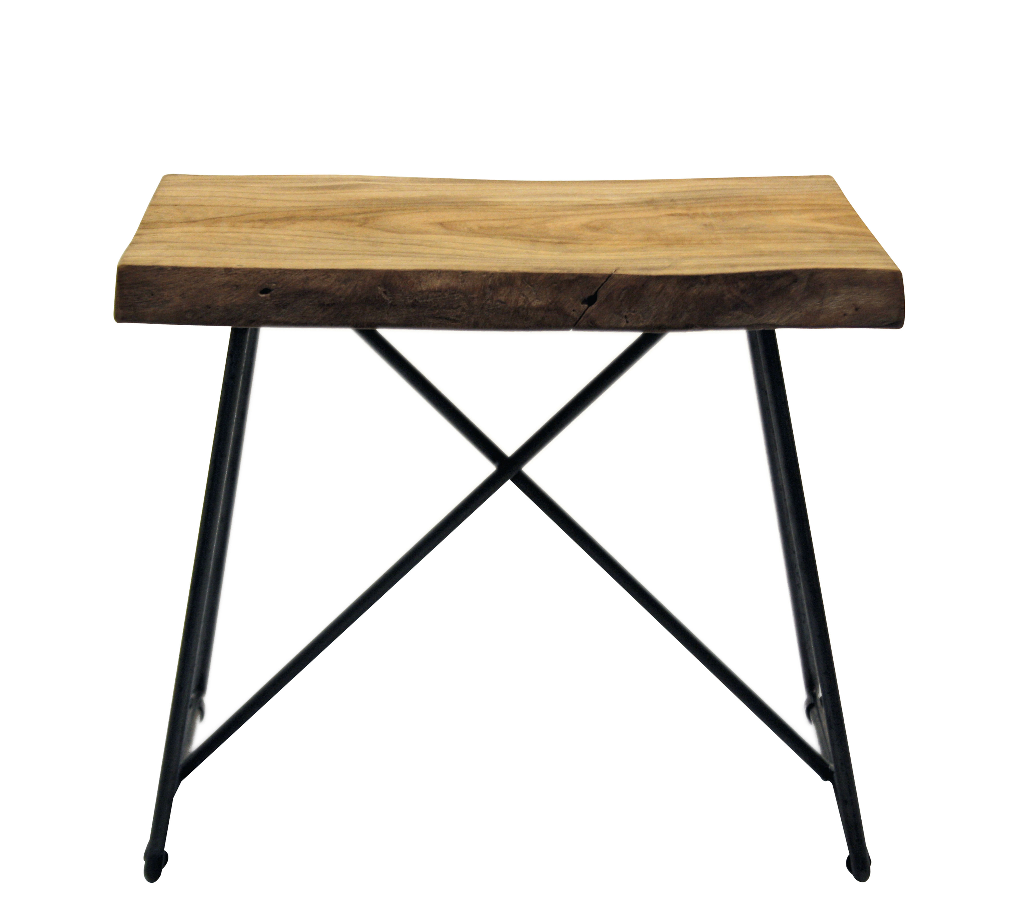 Furniture - Stools - Old Times Stool - / H 47 cm - Wood & metal by Zeus - Natural wood / Black base - Painted steel, Solid olive tree