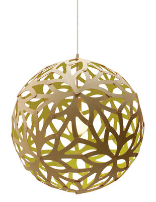 Suspension Floral / Ø 40 cm - Bicolore vert citron & bois - David Trubridge vert/bois naturel en bois