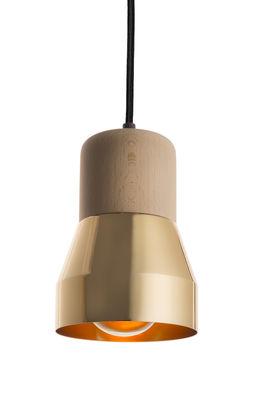 Luminaire - Suspensions - Suspension Steel Wood S / Bois & métal brillant - Ø 13 cm - Spécimen Editions - Bois / Or brillant - Hêtre massif naturel, Métal peint