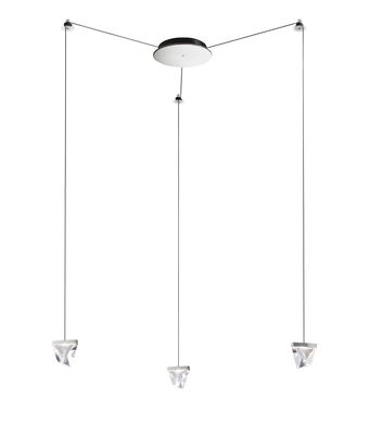 Luminaire - Suspensions - Suspension Tripla LED / 3 éléments cristal - Fabbian - Chromé / Transparent - Aluminium chromé, Cristal