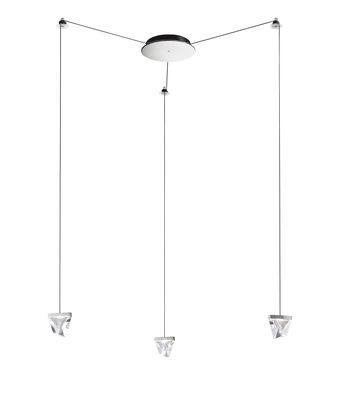 Suspension Tripla LED / 3 éléments cristal - Fabbian chromé,transparent en verre