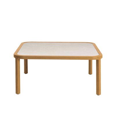 Table basse Grand Life / 100 x 100 x H 35 cm - Pierre céramique & teck naturel - Ethimo blanc/bois naturel en bois/pierre