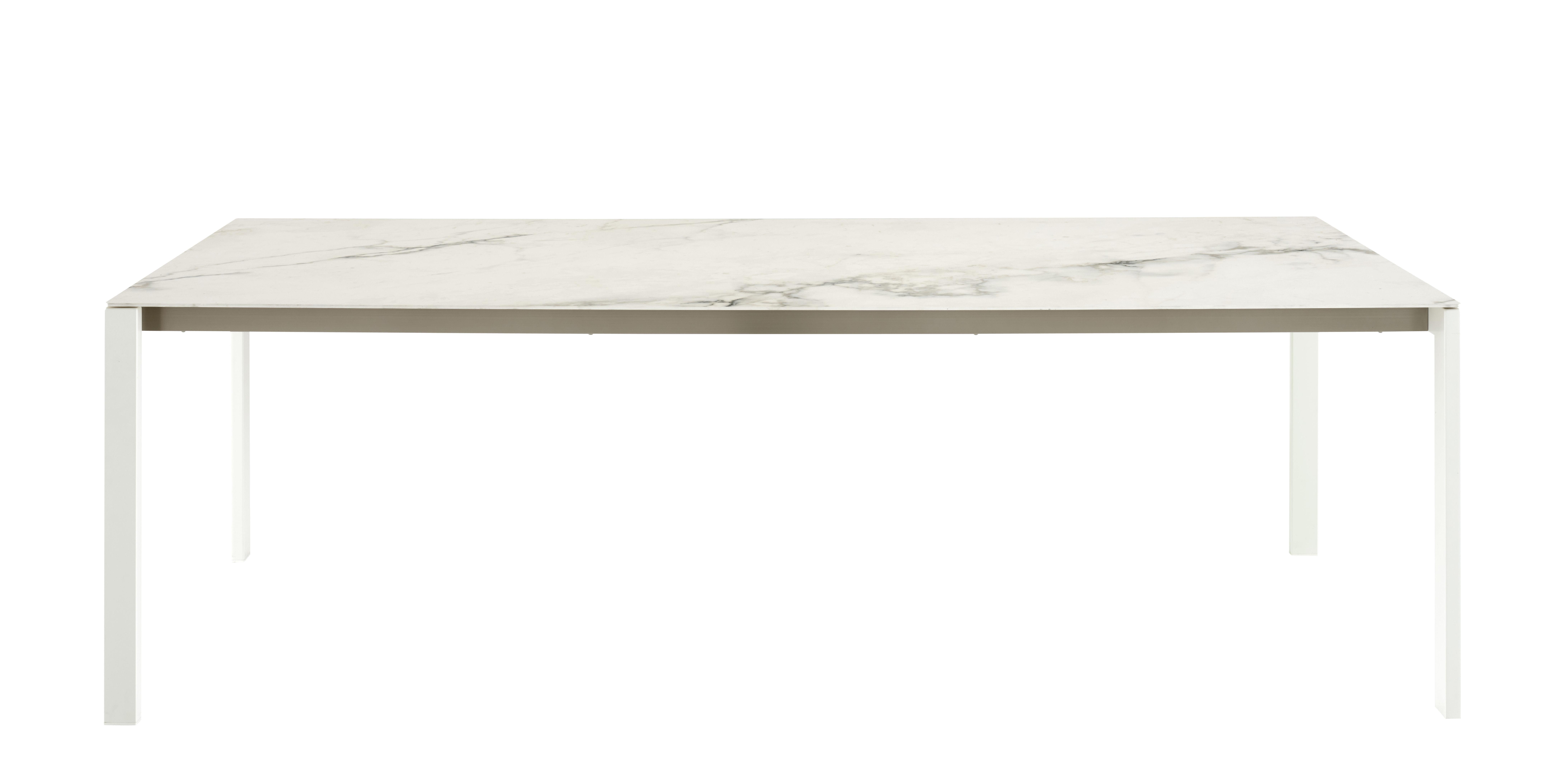 Outdoor - Tables de jardin - Table rectangulaire Dehors / Effet marbre - 240 x 100 cm - Cinna - Blanc - Acier inox laqué, Grès cérame effet marbre