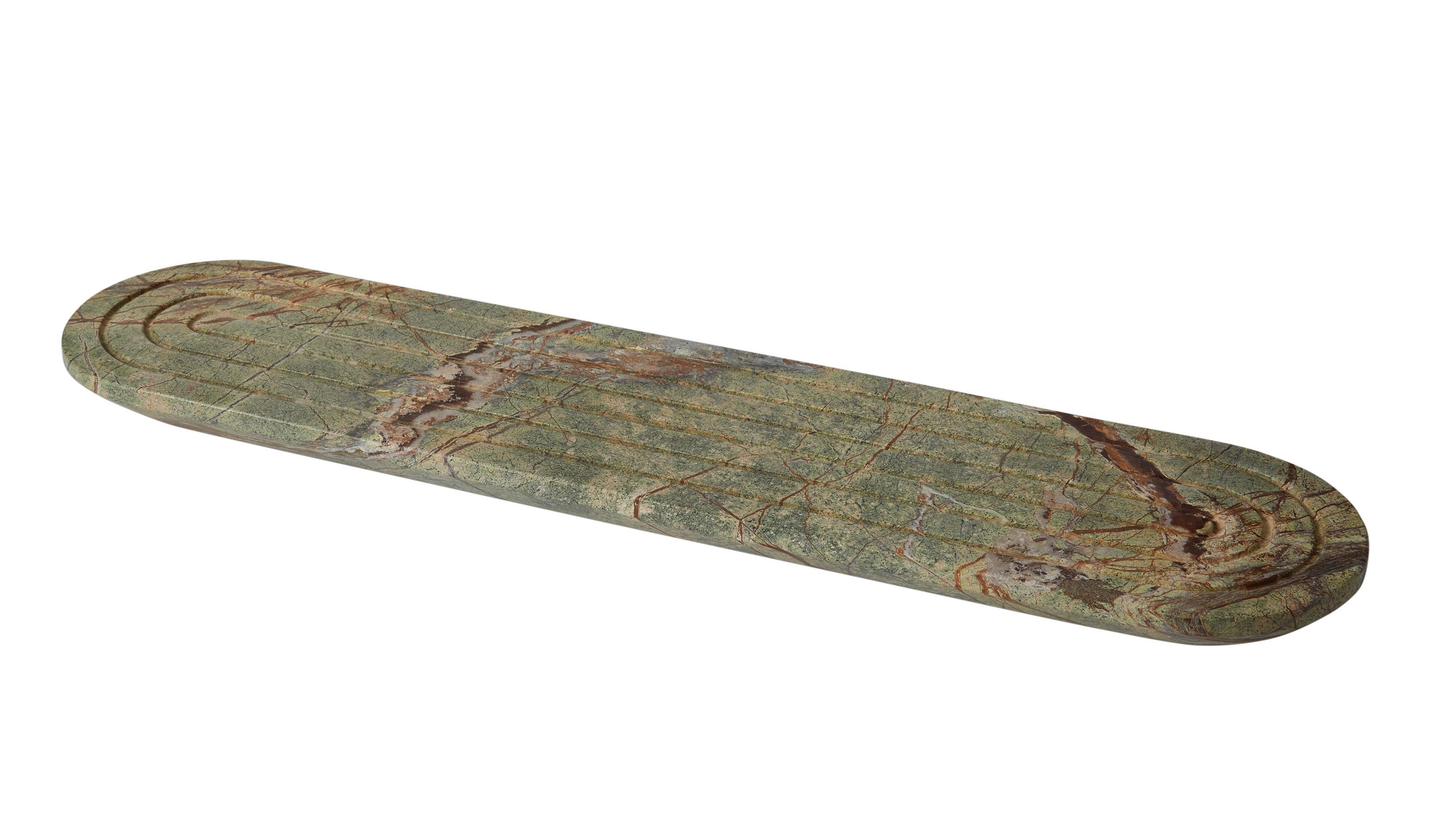Tischkultur - Tabletts - Rock Long Tablett / Marmor - 60 x 14 cm - Tom Dixon - Lang / grün - Marmor