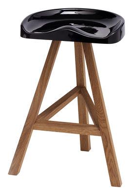 Tabouret de bar Heidi / H 65 cm - Plastique & bois - Established & Sons noir en matière plastique