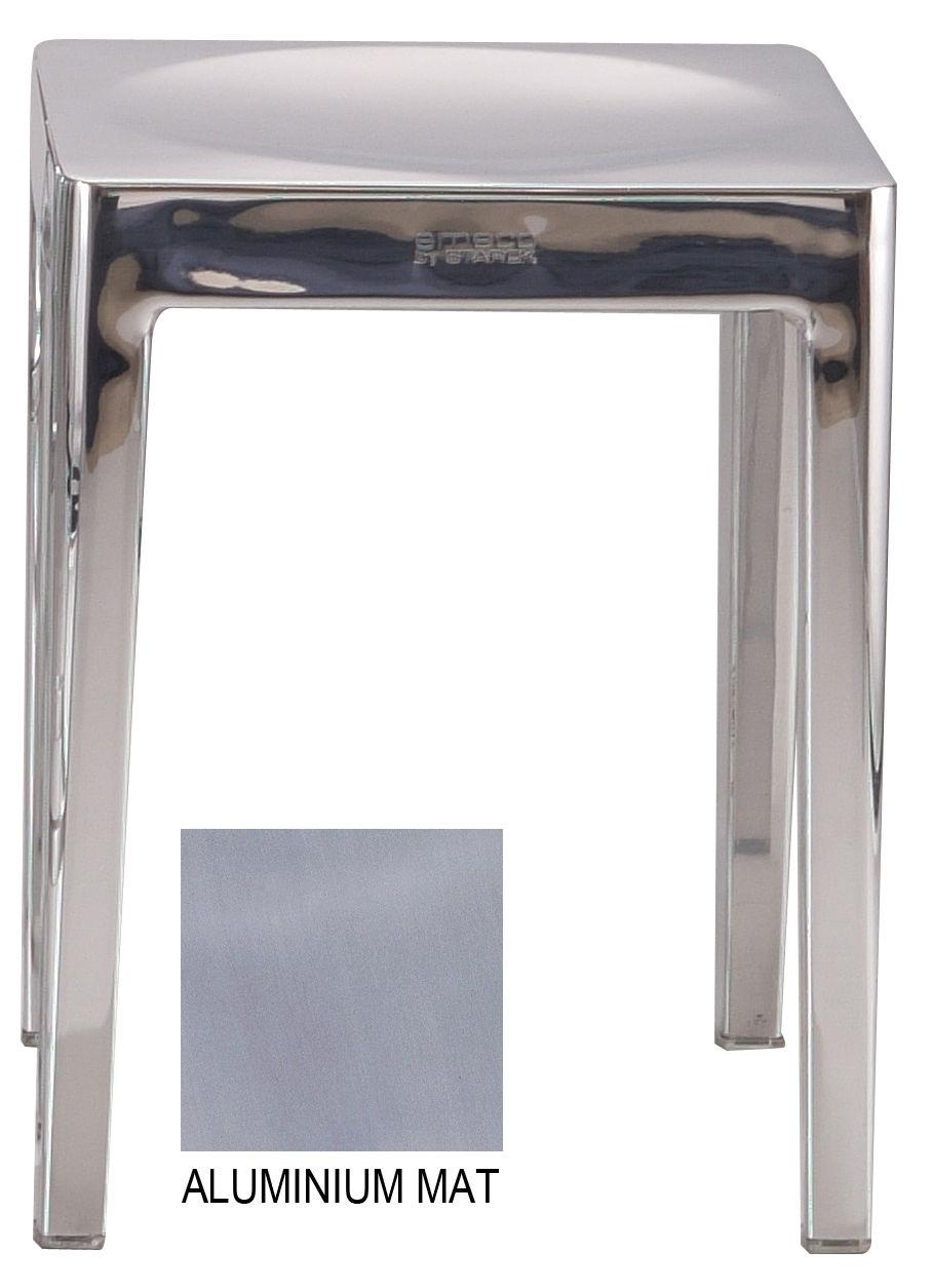 Mobilier - Tabourets bas - Tabouret empilable Outdoor / H 46 cm - Aluminium brossé - Emeco - Aluminium brossé - Aluminium