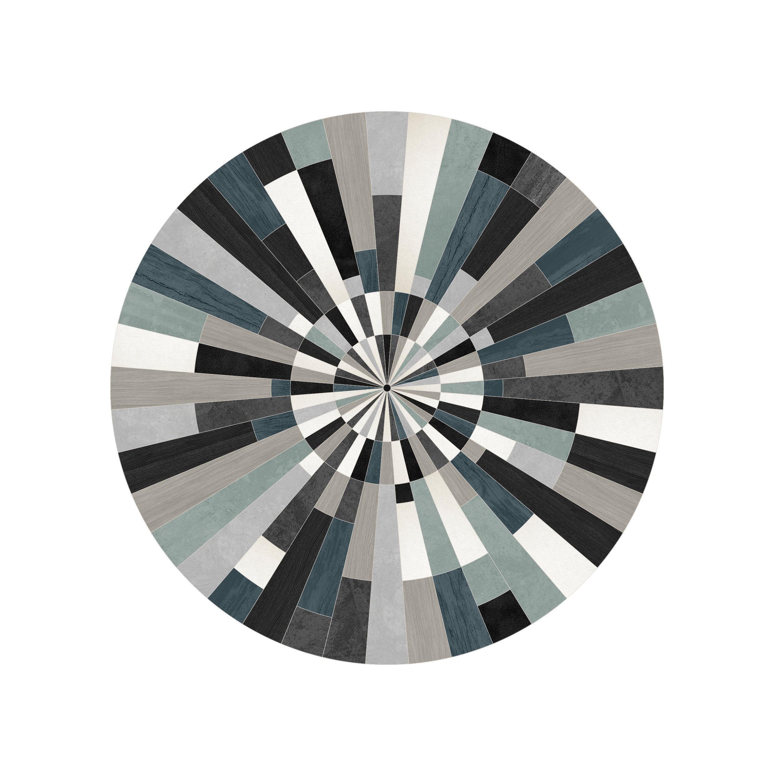 Outdoor - Decorazioni e accessori - Tappeto Fragments - / Ø 99 cm - Vinile di PÔDEVACHE - Frammenti / Blu, nero & grigio - Vinile