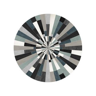 Fragments Teppich / Ø 99 cm - Vinyl - PÔDEVACHE - Blau,noir & gris