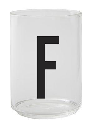 Verre Arne Jacobsen / Verre borosilicaté - Lettre F - Design Letters transparent en verre