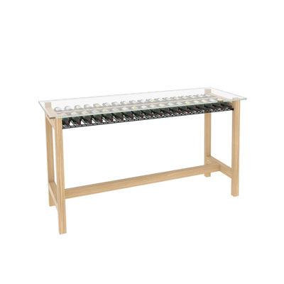 Furniture - High Tables - Wine shelf - / Tasting counter - L 202 x W 80 cm x H 110 cm / 36 bottles by L'Atelier du Vin - Oak / Transparent - Powder coated steel, Soak glass, Solid oak