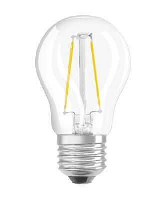 Ampoule LED E27 / Sphérique claire - 2,5W=25W (2700K, blanc chaud) - Osram transparent en verre