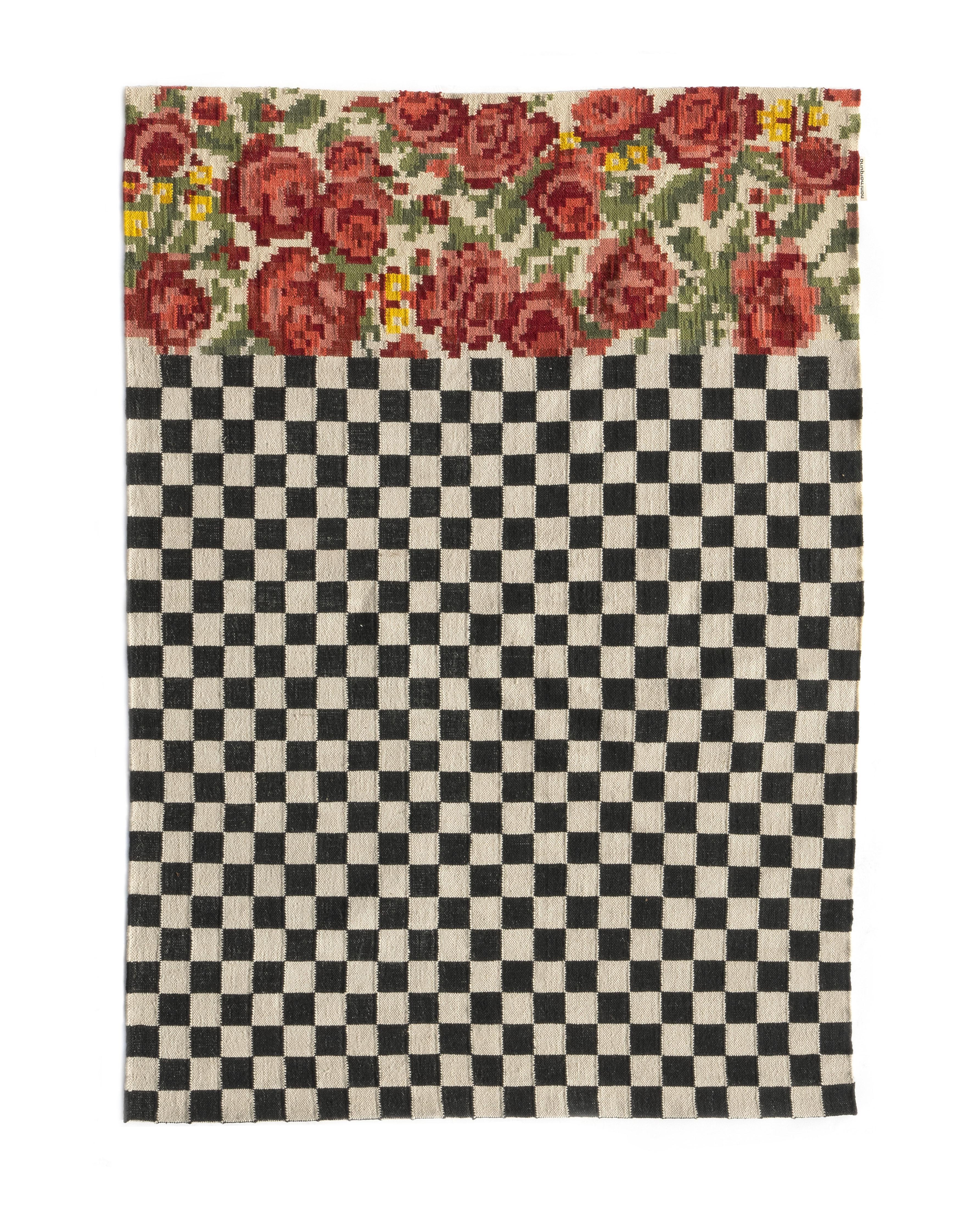 Dekoration - Teppiche - Oaxaca Außenteppich / Handgewebt - 170 x 240 cm - Nanimarquina - 170 x 240 cm / Schwarz & weiß - Polyäthylen