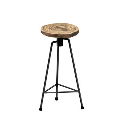Furniture - Bar Stools - Nikita Bar stool - / H 63 cm - Wood & metal by Zeus - Raw metal base / Wood - Solid wood, Steel