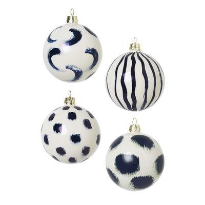 Boule de Noël / Set de 4 - Verre peint à la main - Ferm Living bleu en verre