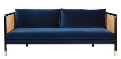 Canapé droit Cannage / L 210 cm - Velours - RED Edition noir,bleu marine,naturel,laiton en tissu
