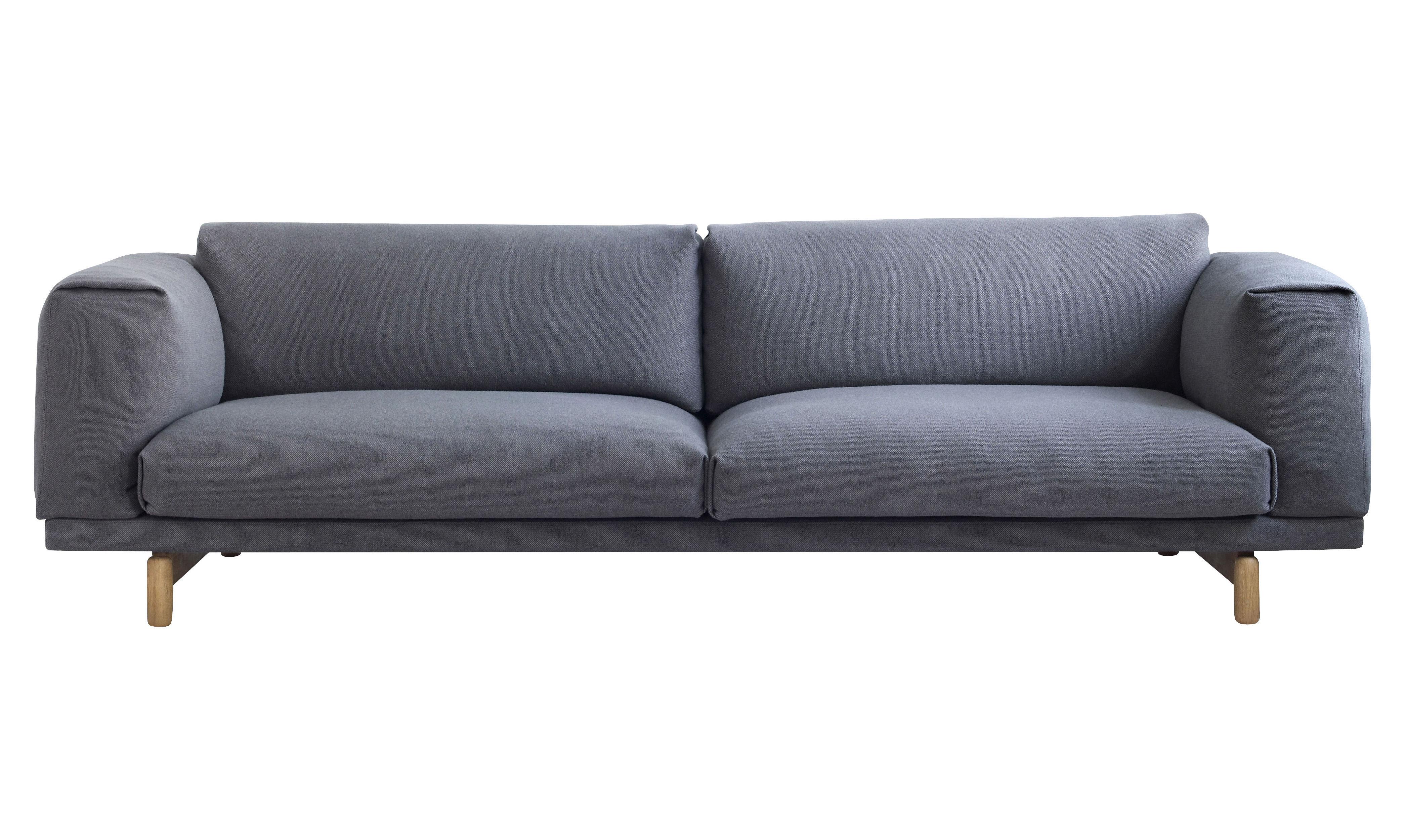 Mobilier - Canapés - Canapé droit Rest / 3 places - L 260 cm - Muuto - Gris / Tissu LAINE - Chêne, Tissu Kvadrat