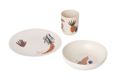 Furniture - Kids Furniture - Fruiticana Children dish set - / Bambou by Ferm Living - Beige / Motifs multicolores - Bamboo, Farine de mais, Melamine