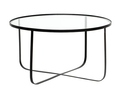 Furniture - Coffee Tables - Harper Coffee table - / Ø 80 cm - Glass & metal by Bloomingville - Transparent & black - Glass, Lacquered metal