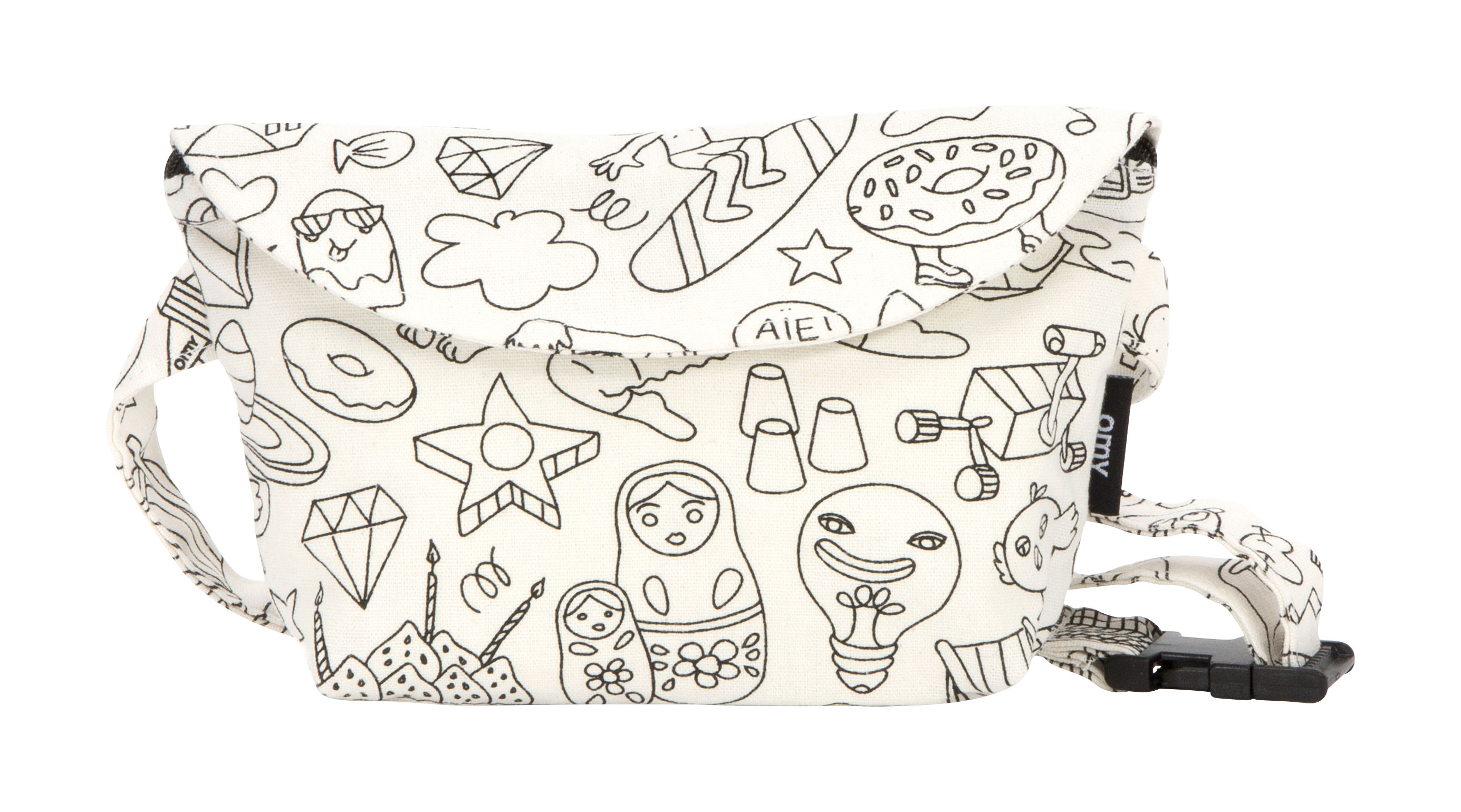 Decoration - Children's Home Accessories - Colouring bum bag - Cotton by OMY Design & Play - Black & white/ Customizable - Cotton