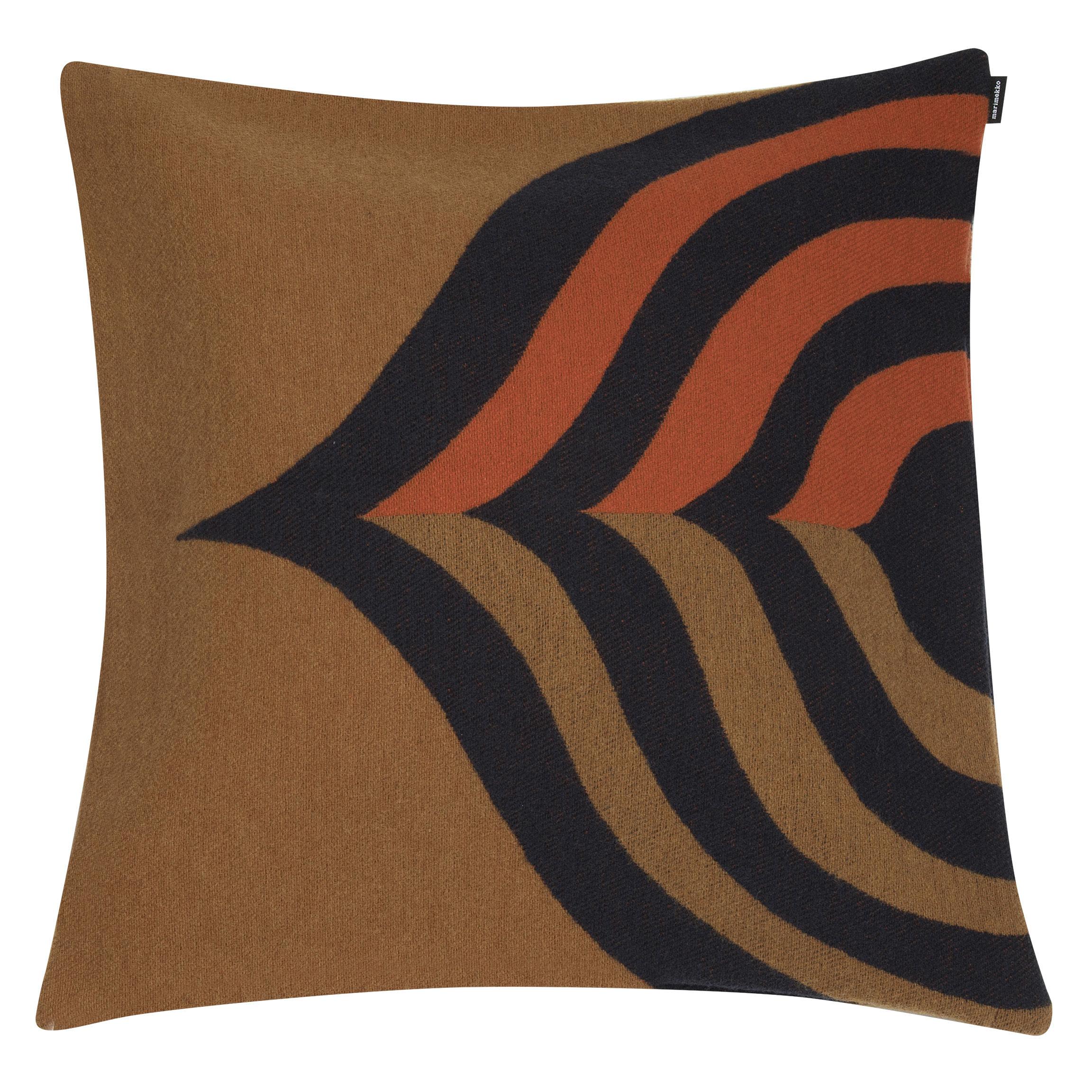Decoration - Cushions & Poufs - Keisarinkruunu Cushion cover - / 50 x 50cm by Marimekko - Keisarinkruunu / Brown & orange - Cotton, Polyamide, Wool