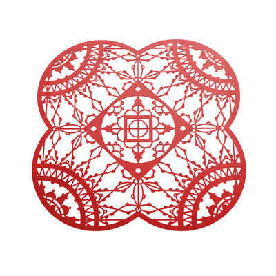 Dessous de verre Petal Italic Lace / 10 x 10 cm - Lot de 4 - Driade Kosmo rouge en métal